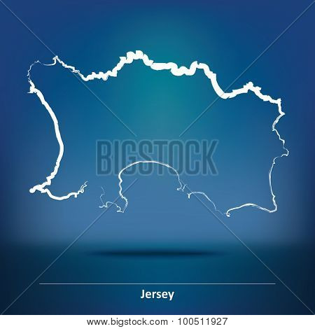 Doodle Map of Jersey - vector illustration