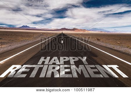 Happy Retirement written on desert road