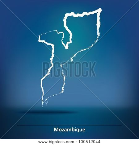 Doodle Map of Mozambique - vector illustration