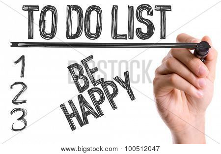 Hand with marker writing the word To Do List Be Happy