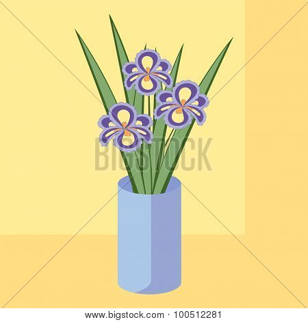 Vector illustration of bouquet of iris flowers. Card of purple abstract flowers with leaves in blue