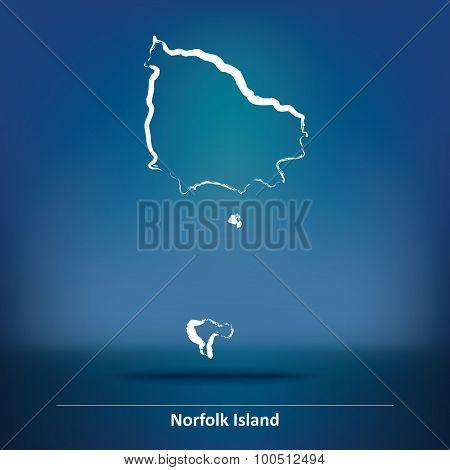 Doodle Map of Norfolk Island - vector illustration