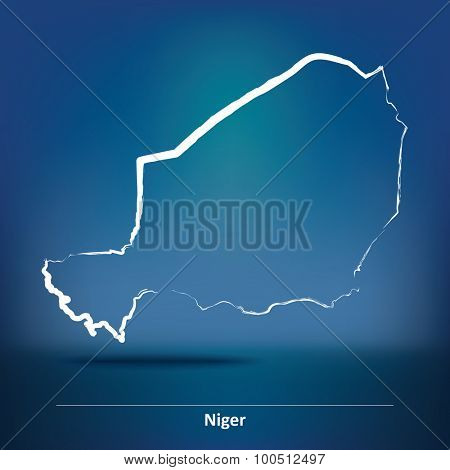 Doodle Map of Niger - vector illustration