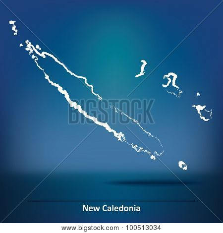 Doodle Map of New Caledonia - vector illustration