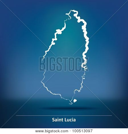 Doodle Map of Saint Lucia - vector illustration