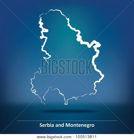 Doodle Map of Serbia and Montenegro - vector illustration