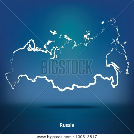 Doodle Map of Russia - vector illustration