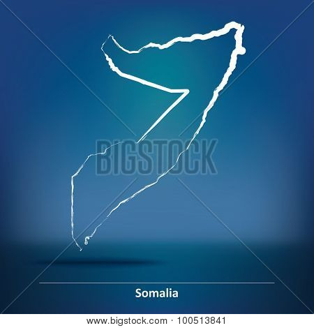 Doodle Map of Somalia - vector illustration