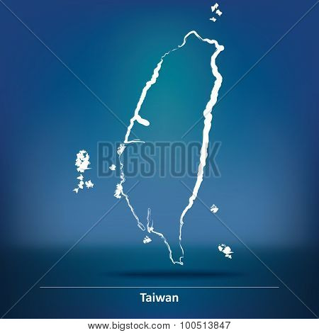 Doodle Map of Taiwan - vector illustration