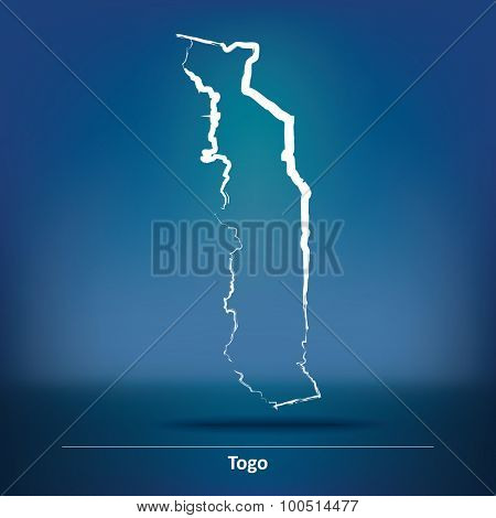 Doodle Map of Togo - vector illustration