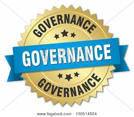 Governance 3D Gold Badge With Blue Ribbon