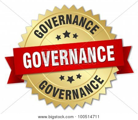 Governance 3D Gold Badge With Red Ribbon