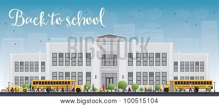 Landscape with school bus, school building and people