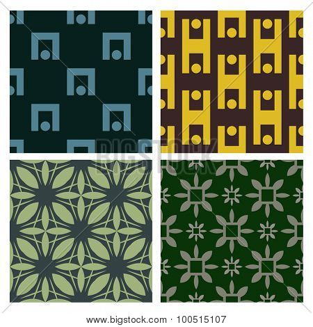 4 Retro different patterns. Texture can be used for wallpaper, pattern fills, web page background,surface textures