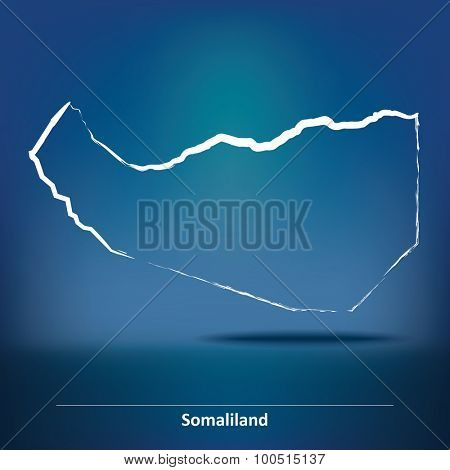 Doodle Map of Somaliland - vector illustration