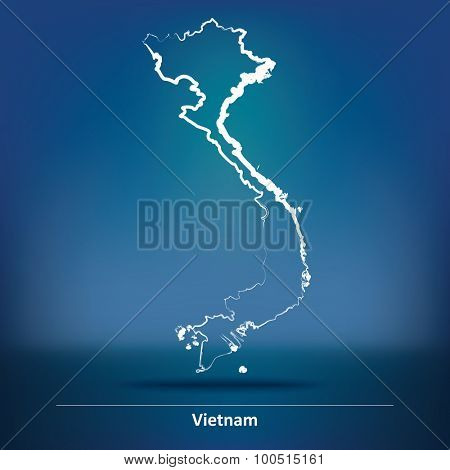 Doodle Map of Vietnam - vector illustration