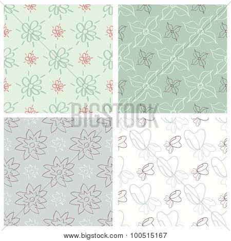 Set of four flower patterns