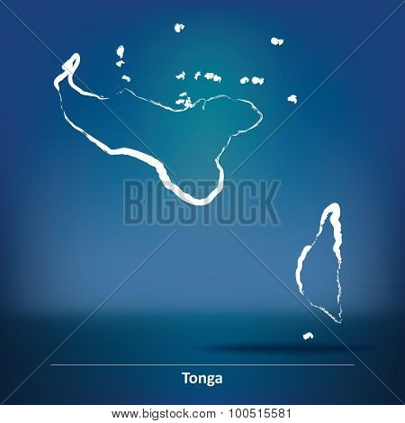 Doodle Map of Tonga - vector illustration