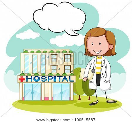 Physician in front of hospital illustration