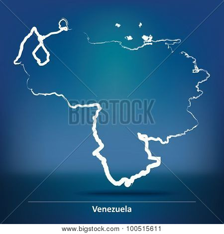 Doodle Map of Venezuela - vector illustration