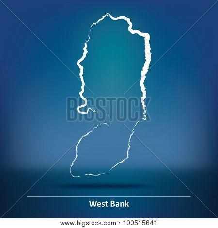 Doodle Map of West Bank - vector illustration