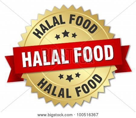 Halal Food 3D Gold Badge With Red Ribbon