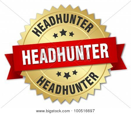 Headhunter 3D Gold Badge With Red Ribbon