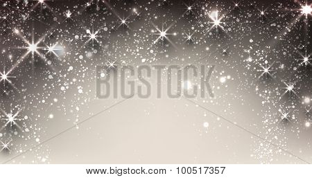 Elegant starry christmas banner with snowflakes and place for text. Vector Illustration.