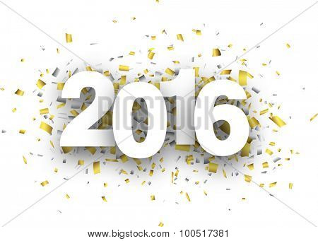 Happy 2016 new year with confetti. Vector paper illustration.