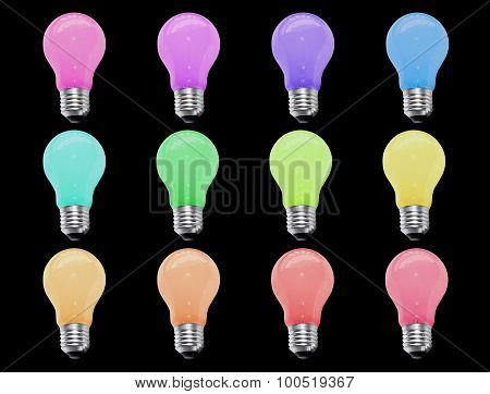 Incandescent light bulb 12 color isolate on black background