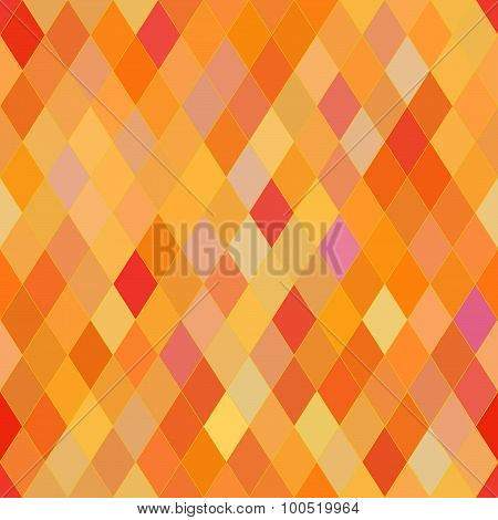 Vector Seamless Pattern With Rhombs. Abstract Orange Texture. Geometrical Background. Warm Colors.