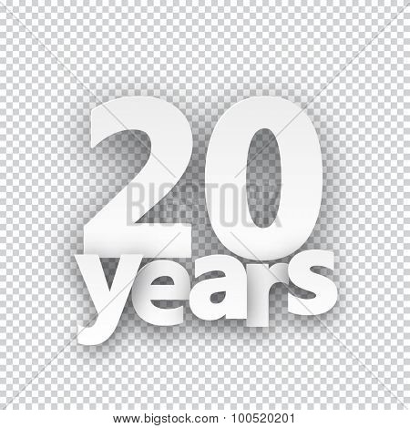 Twenty years paper sign over cells. Vector illustration.
