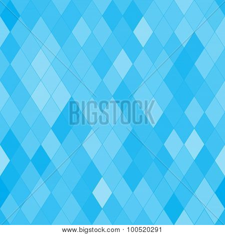 Vector Seamless Pattern With Rhombs. Abstract Bright Blue Texture. Geometrical Background.