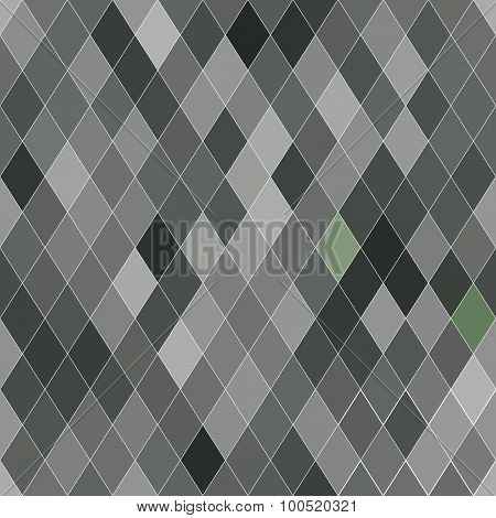 Vector Seamless Pattern With Rhombs. Abstract Gray Texture. Geometrical Background.