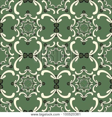 Ornamental Seamless Pattern. Vintage Template. Curve Elements On The Green Background.
