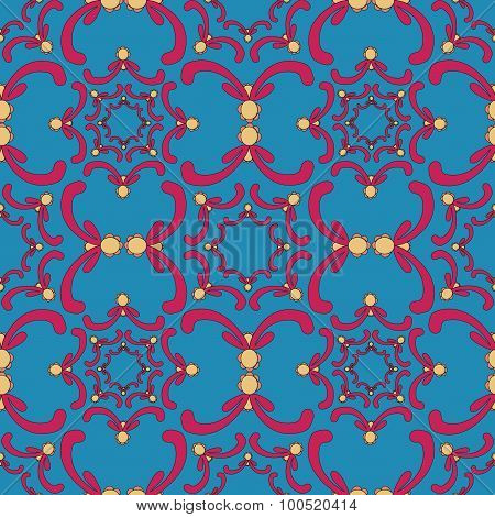 Ornamental Seamless Pattern. Vintage Template. Red Curve Elements On The Blue Background.