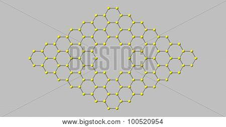 Graphene molecular structure with a pore isolated on grey