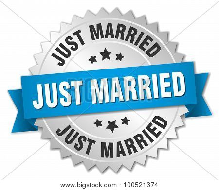 Just Married 3D Silver Badge With Blue Ribbon