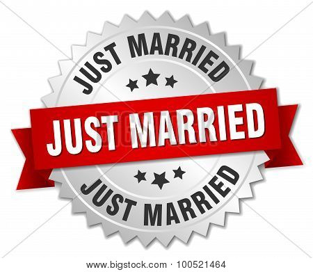 Just Married 3D Silver Badge With Red Ribbon