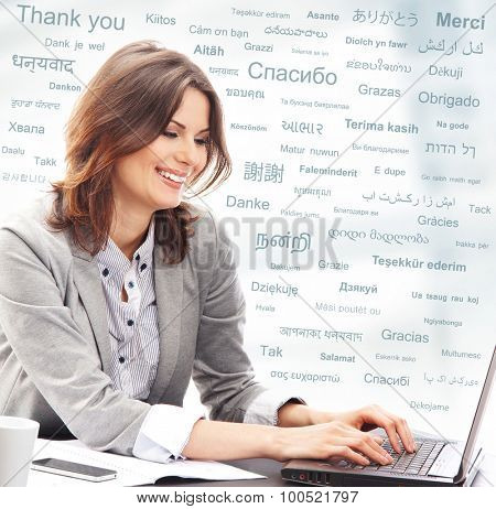 Business woman or teacher in office. Different world languages concept.