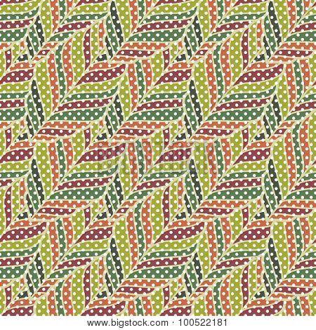 Decorative ornamental seamless spring pattern. Endless elegant texture with leaves. Vector illustrat
