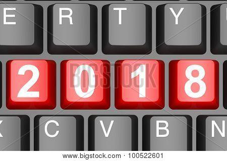 Year 2018 Button On Modern Computer Keyboard