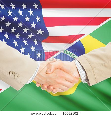 Businessmen Handshake - United States And Brazil
