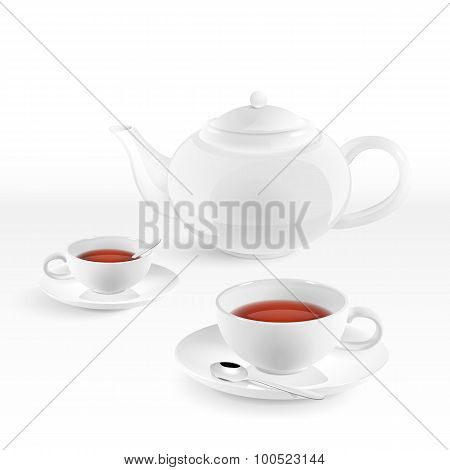 White Teapot And Cups