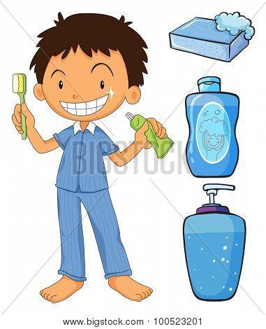 Boy in pajamas brushing teeth illustration