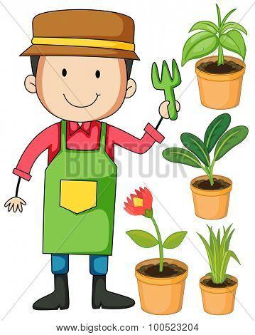 Gardener and potted plants illustration