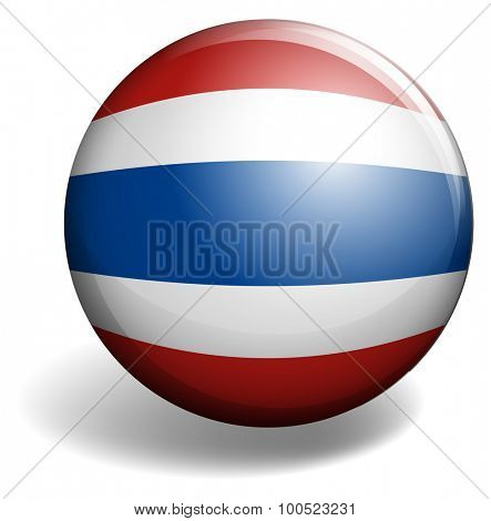 Thai flag on round badge illustration