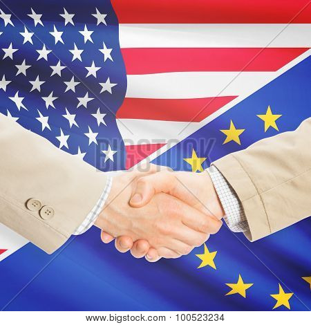 Businessmen Handshake - United States And European Union