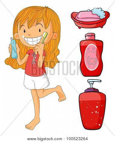Girl in red brushing teeth illustration