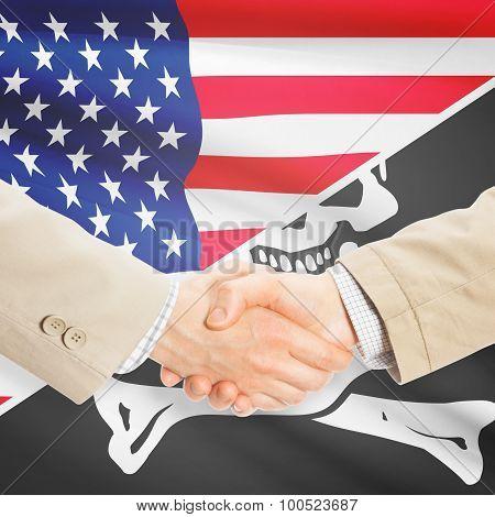 Businessmen Handshake - United States And Jolly Roger
